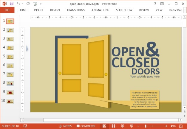 Open and closed doors template for PowerPoint