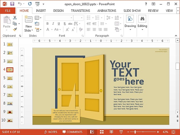 Open door illustration for PowerPoint