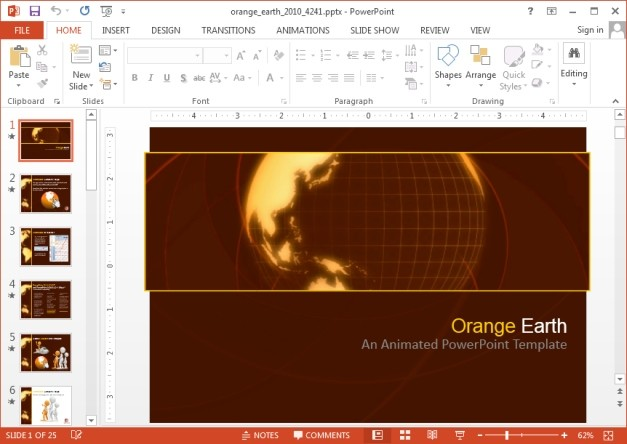 Orange Earth PowerPoint template