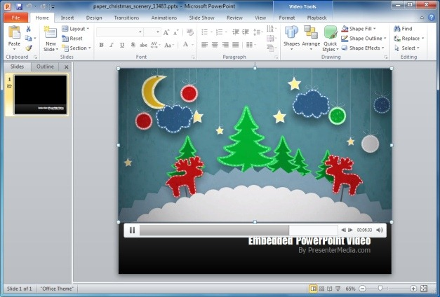 Paper Christmas Scenery PowerPoint Template