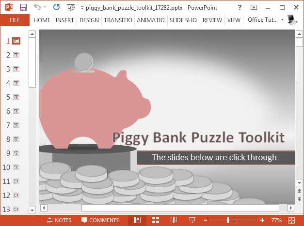 Piggy bank PowerPoint template with puzzle pieces