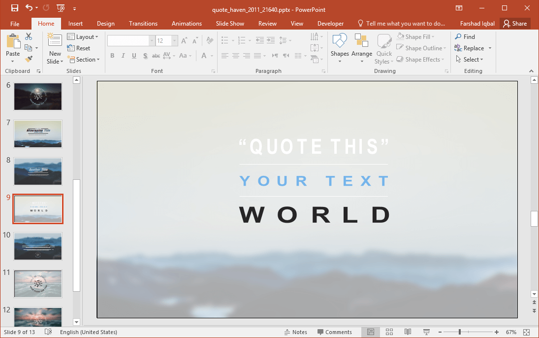 Quote Haven PowerPoint Template