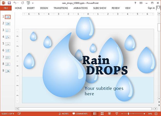 Rain Drops PowerPoint template