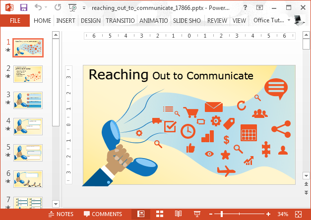 Reaching out to communicate animated template for PowerPoint
