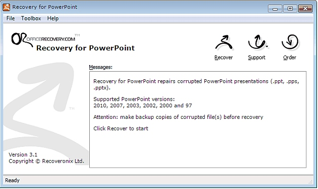 Recover corrupt PowerPoint files