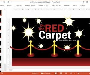 Red Carpet PowerPoint Template With Flashing Cameras Animation