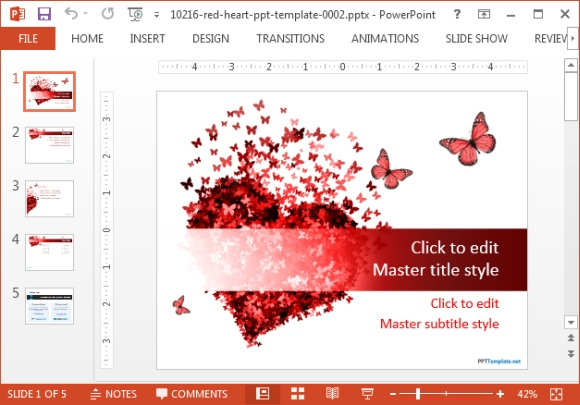 Red heart Powerpoint template