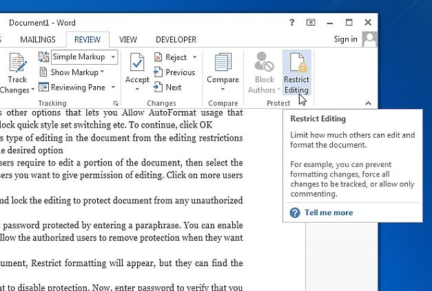 Restrict Editing option