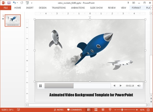Retro rocket template for PowerPoint