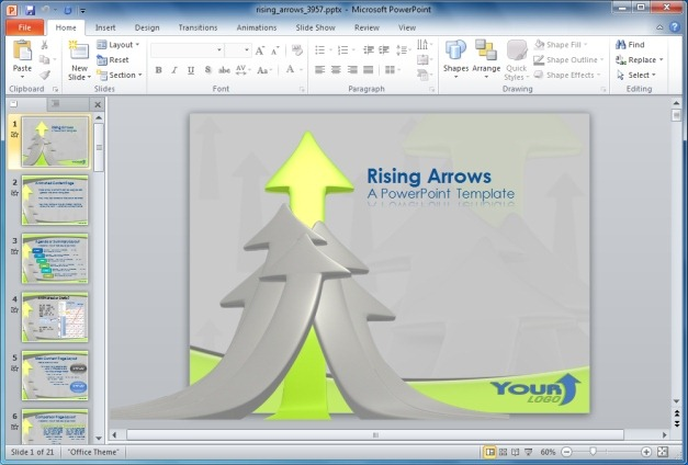 Rising Arrows PowerPoint Template