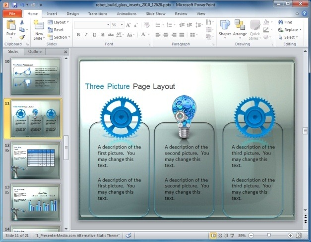 Robot PowerPoint Template With Three Picture Layout
