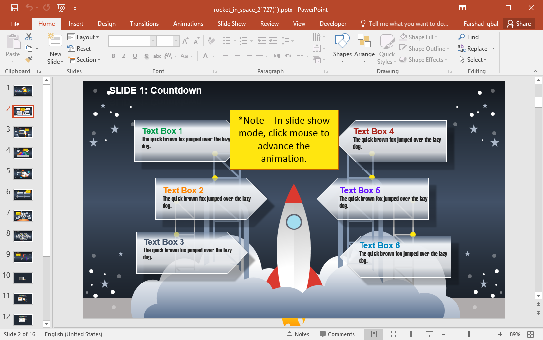 Rocket in Space PowerPoint Template