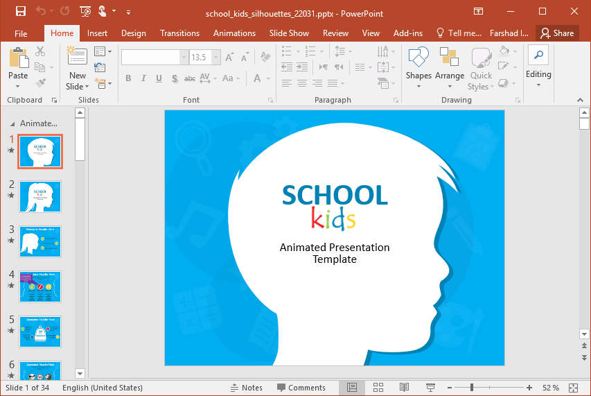 School Kids Silhouettes PowerPoint Template