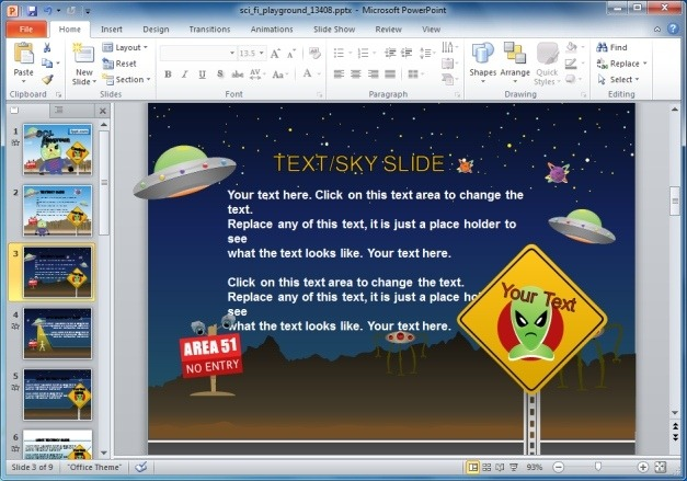 Sci-Fi PowerPoint Template For Kids