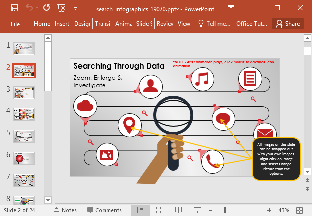 Search infographic template for PowerPoint