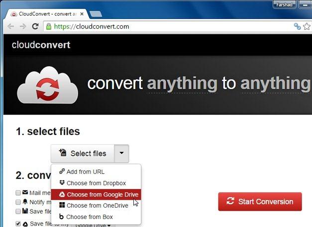 Select a file via CloudConvert