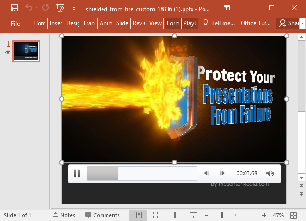 Shielding text from fire animation