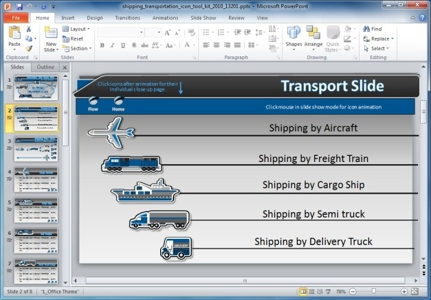 Shipping Transportation Icon PowerPoint Template