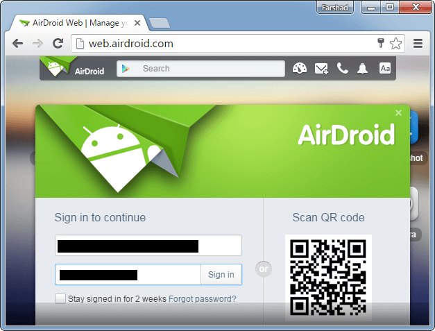 Sign in to AirDroid