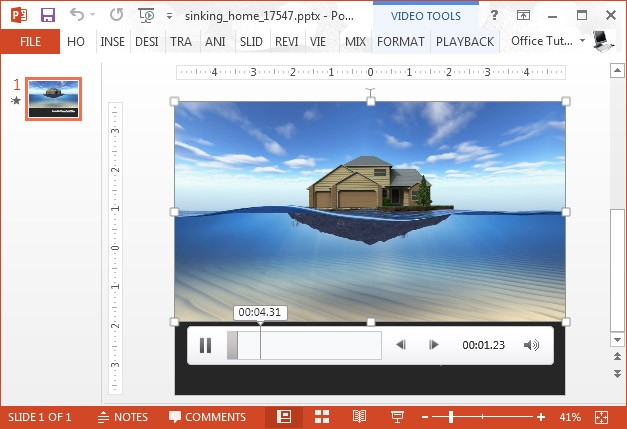 Sinking house video animation for PowerPoint