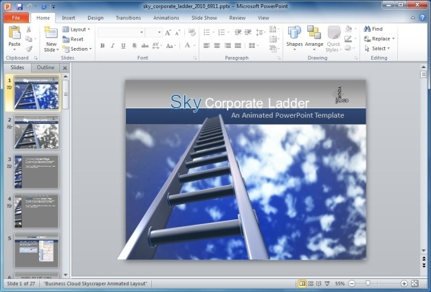 Sky Corporate Ladder PowerPoint Template