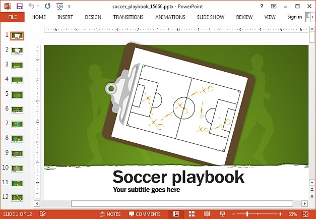 Soccer playbook template for PowerPoint