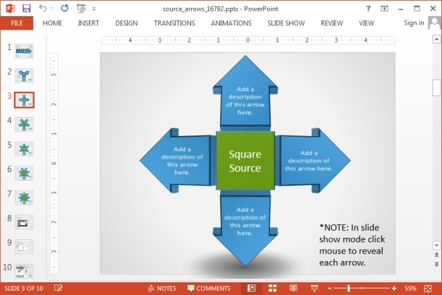 Square source arrow diagram for PowerPoint