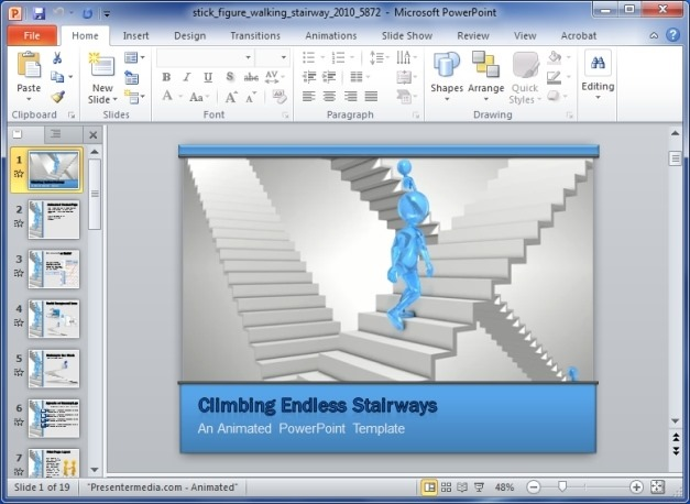 Stick Figures Walking Stairways Animated PowerPoint Template