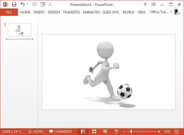 Stick figure dribbling soccer ball