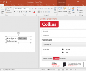 Collins Dictionary, Thesaurus and Translation Add-in for Office with Audio Pronunciations