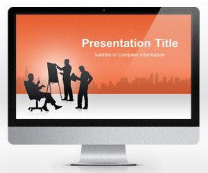 Widescreen Business Conference Orange PowerPoint Template (16:9)