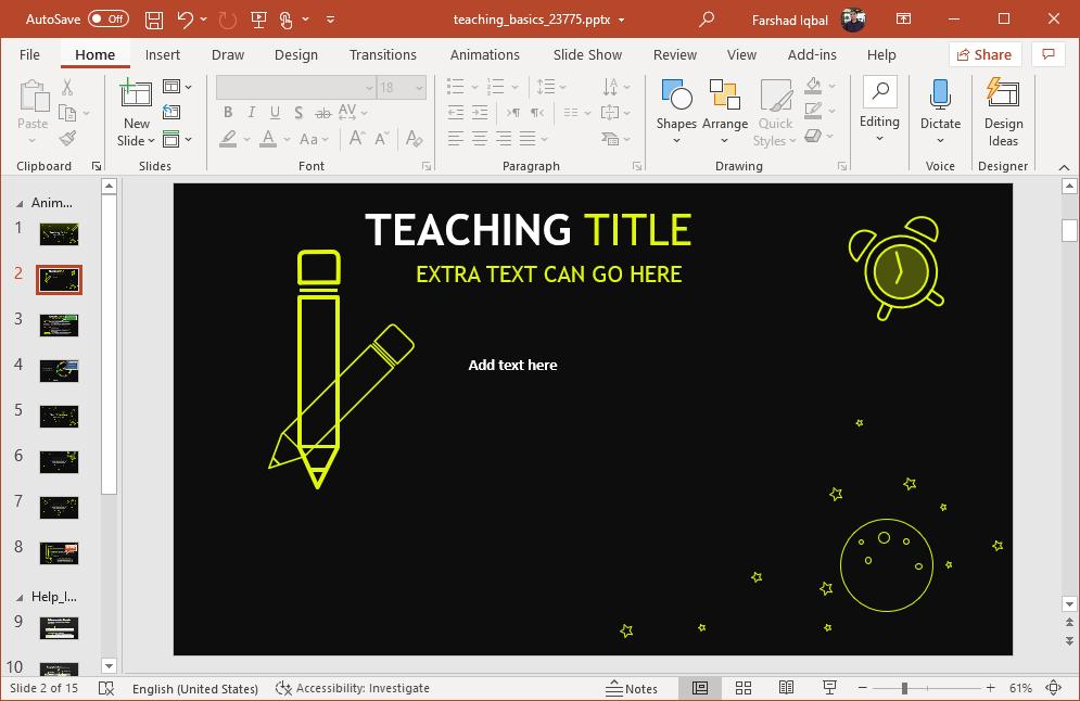 Teaching PowerPoint presentation template