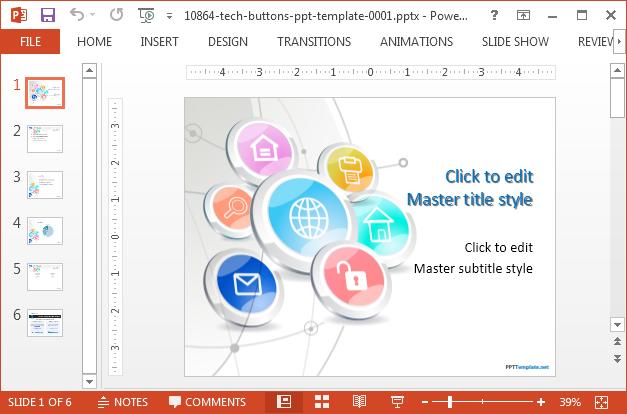 Tech buttons PowerPoint template