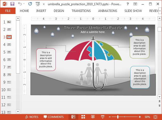 Three piece umbrella puzzle slide design