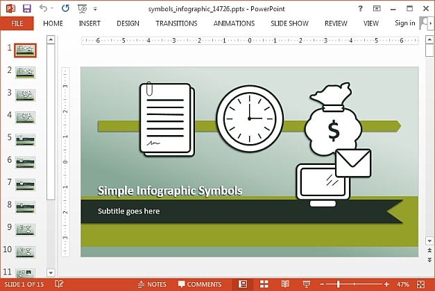 Time symbols PowerPoint template