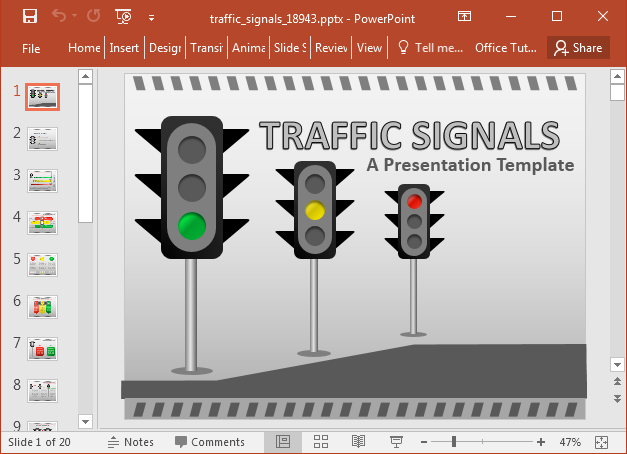 Traffic signal PowerPoint template