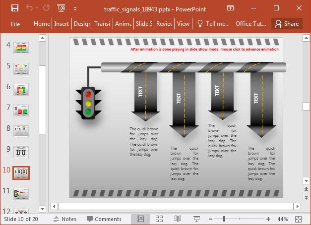 Traffic signal timeline slide design