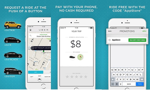 UBER app for iOS