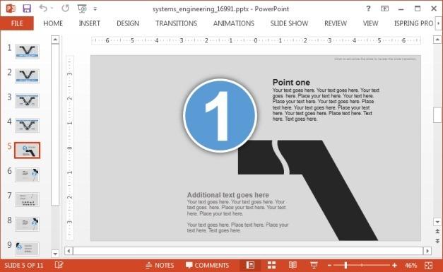 V Model template for PowerPoint