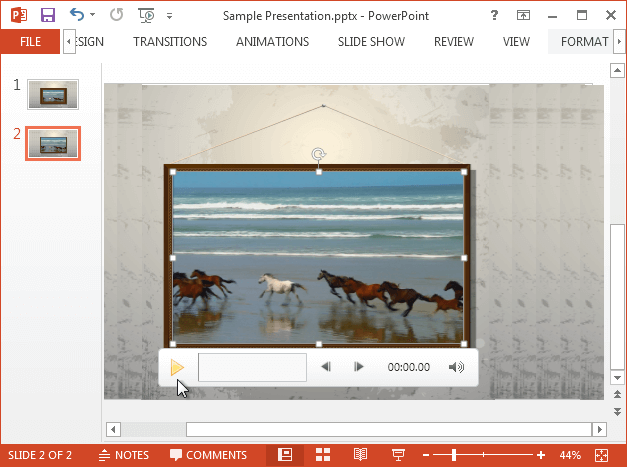 Video playing on top of picture frame in PowerPoint