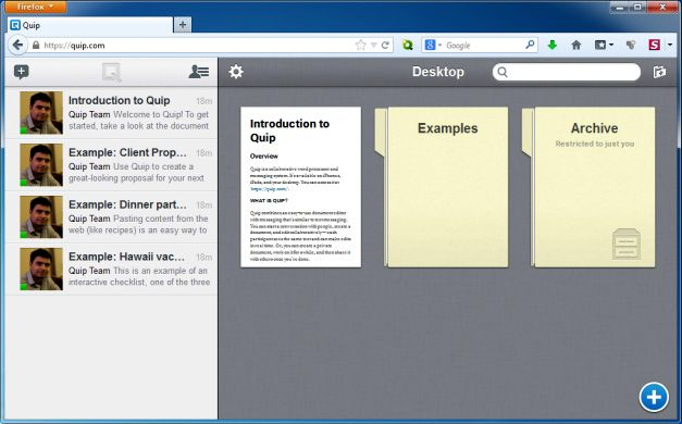 Web Interface for Quip