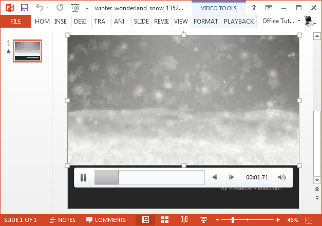 Winter landscape video background for PowerPoint