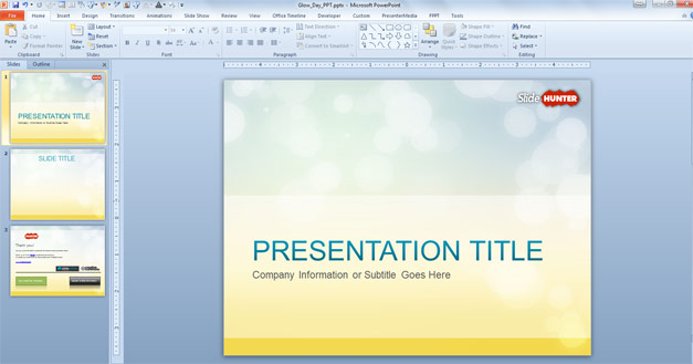 Free abstract PowerPoint template with glow effect and yellow tones in the background