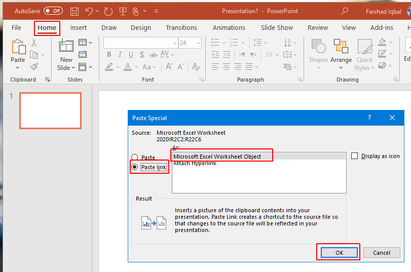insert data from excel in powerpoint