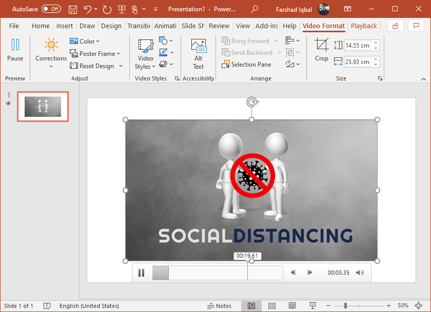 add social distancing video to powerpoint