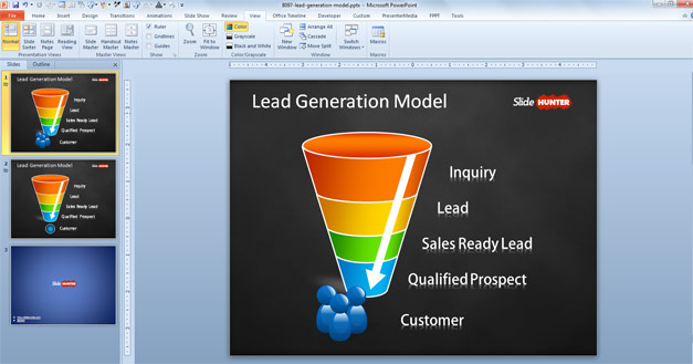 Animated lead generation diagram template for PowerPoint