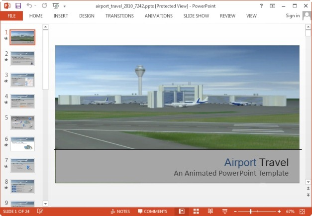 animated airport travel powerpoint template