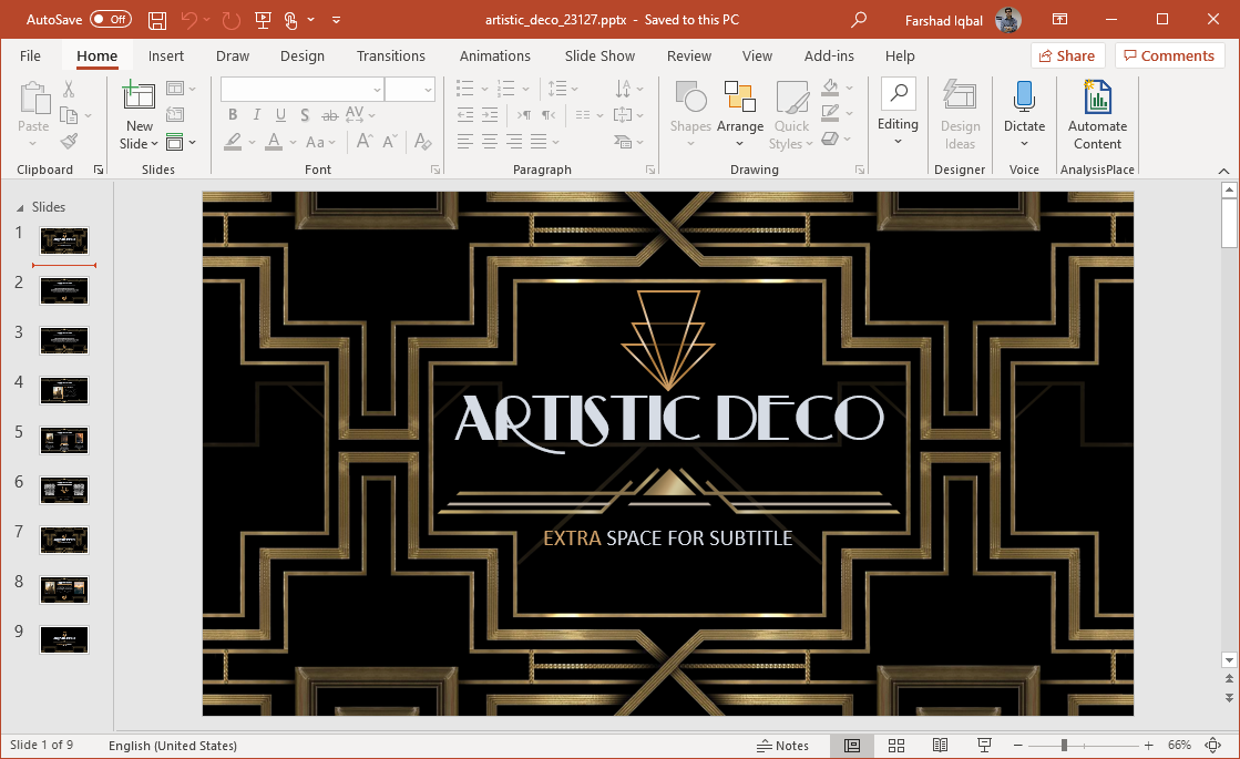 animated art deco template for powerpoint