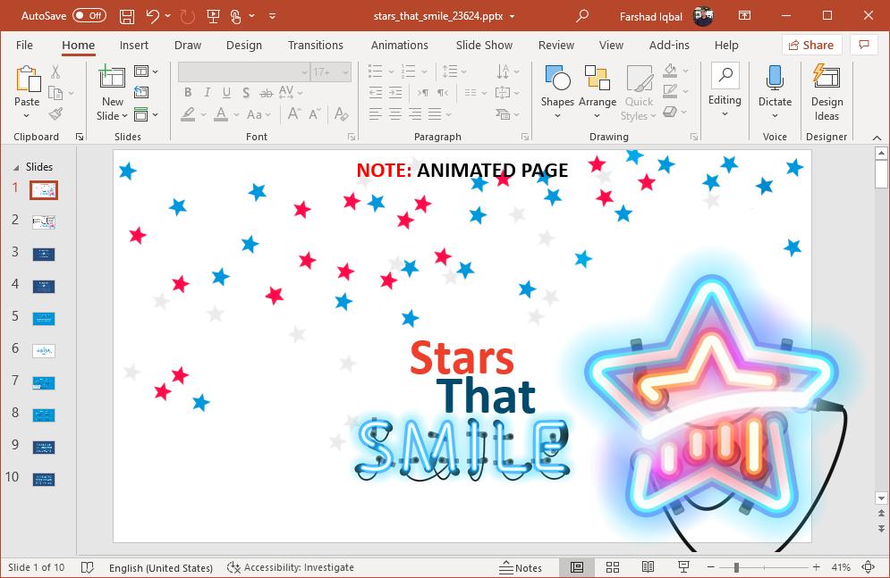 animated neon stars powerpoint template