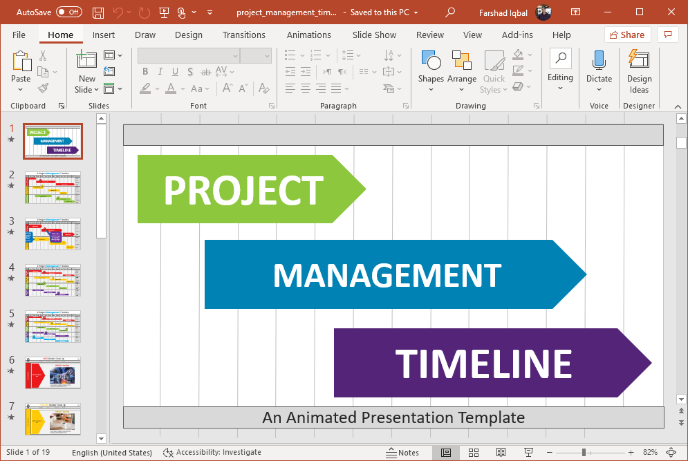 animated project management timeline gantt charts for powerpoint